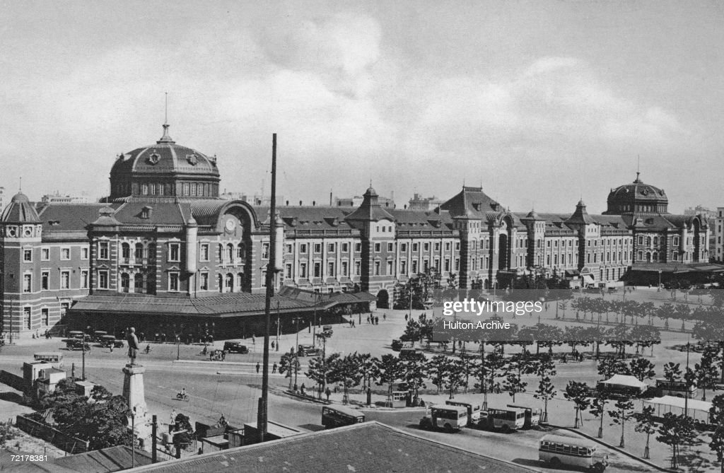 Tokyo Station in Japan circa 1920 The major rail terminal was designed by architect Tatsuno Kingo