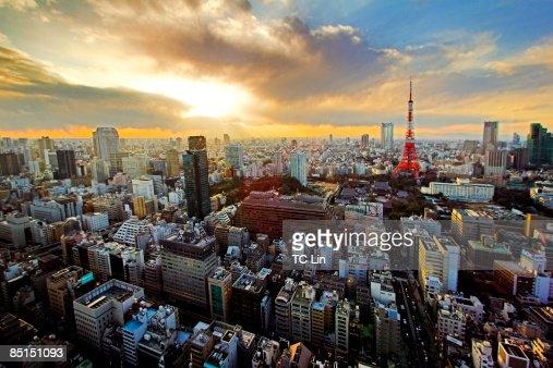 Tokyo sunset : Bildbanksbilder