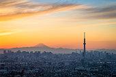 Beautiful Tokyo sunset cityscape ,  Tokyo Skytree landmark and Mountian Fuji in winter sunset