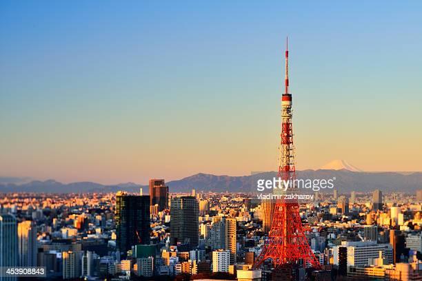 Tokyo Tower and Mt Fuji at sunrise