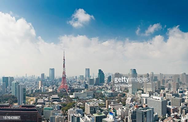 東京のタワーの高層ビルのダウンタウンのランドマークと高層パノラマ日本の首都