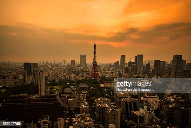 Tokyo tower in the sunset time