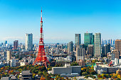 Tokyo tower, Japan. Tokyo City Skyline. Asia, Japan famous tourist destination. Aerial view of Tokyo tower. Japanese central business district, downtown building and tower in Tokyo, Japan cityscape.