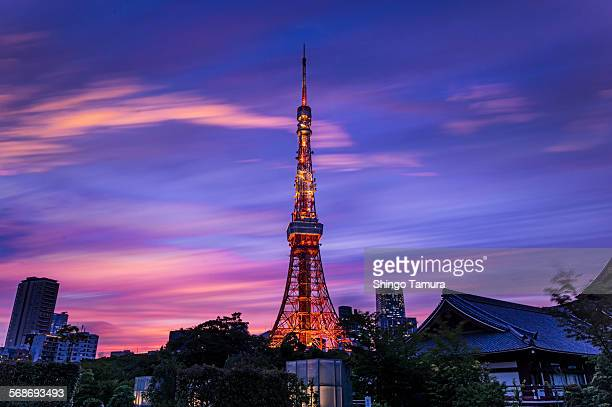 Tokyo tower with evening glow