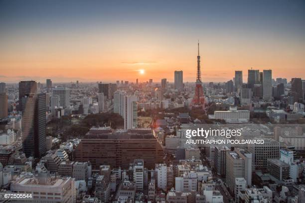 Tokyo tower with sunset , cityscape of tokyo , Japan