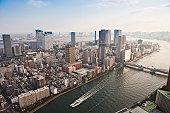 Tokyo waterfront towers Sumida River bridges aerial bay cityscape Japan