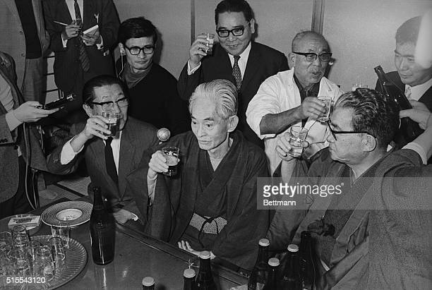 Wins Nobel Prize In Literature Yasunari Kawabata 69yearold Japanese novelist is toasted by friends and relatives at his home near here Oct 17th after...