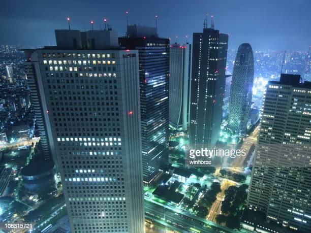 東京最大の超高層ビル街の夜景