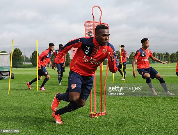 Tolaji Bola of Arsenal during the U19 training session at London Colney on September 15 2015 in St Albans England