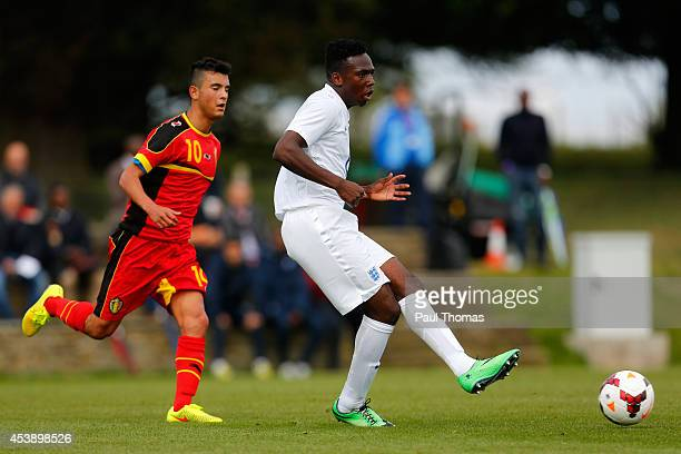 Tolaji Bola of England U16's in action during the International U16 fixture between England and Belgium at St George's Park on August 20 2014 in...