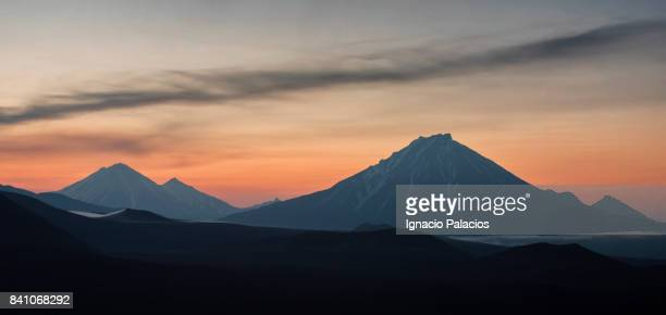 Tolbachik (Толбачик) volcanic complex on the Kamchatka Peninsula at sunrise