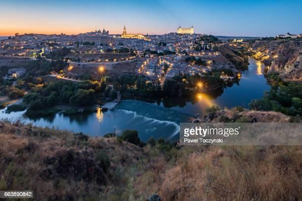 Toledo city scape at dusk, Spain