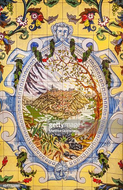 Toledo city vista on ceramic tiles