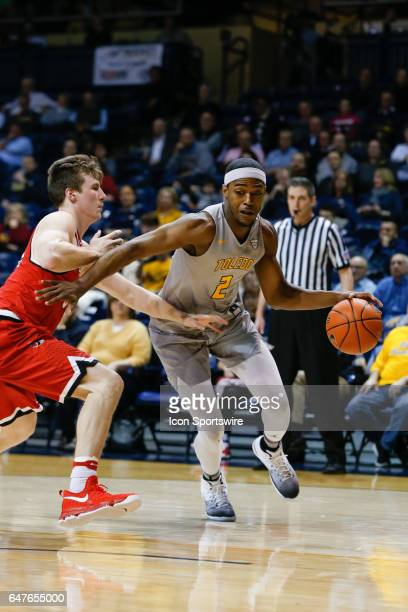 Toledo Rockets forward Taylor Adway drives to the basket during a regular season basketball game between the Ball State Cardinals and the Toledo...