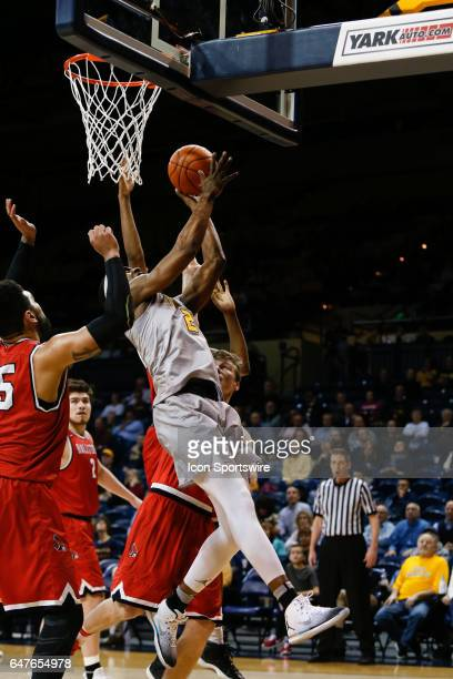 Toledo Rockets forward Taylor Adway puts up a shot during a regular season basketball game between the Ball State Cardinals and the Toledo Rockets on...
