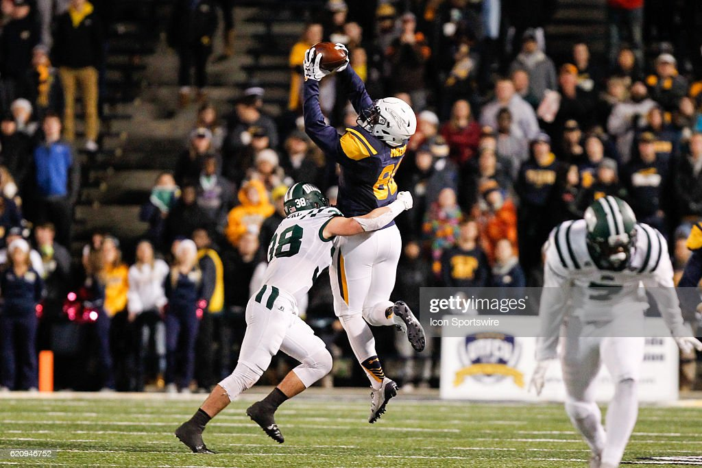 Toledo Rockets tight end Michael Roberts (80) leaps to catch a pass during game action between the Central Michigan Chippewas and the Toledo Rockets on October 27, 2016, at Glass Bowl Stadium in Toledo, OH.