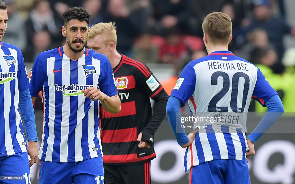 Tolga Cigerci and Mitchell Weiser of Hertha BSC during the game between Bayer 04 Leverkusen and Hertha BSC on april 30, 2016 in Leverkusen, Germany.