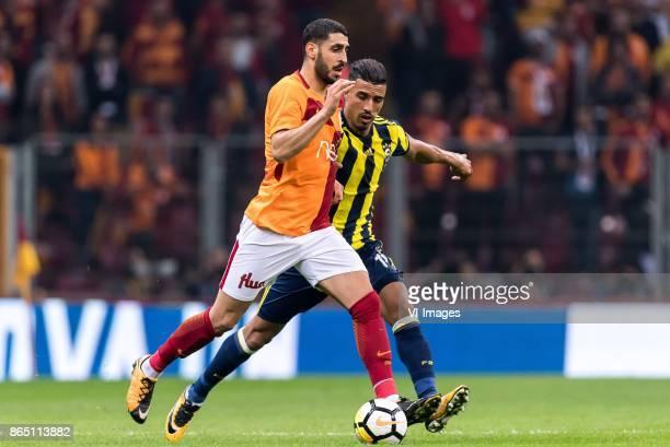 Tolga Cigerci of Galatasaray SK Nabil Dirar of Fenerbahce SK during the Turkish Spor Toto Super Lig football match between Galatasaray SK and...