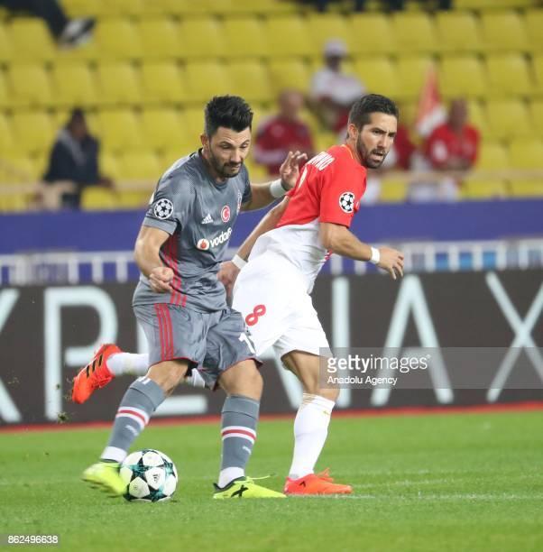 Tolgay Arslan of Besiktas in action against Joao Moutinho of AS Monaco during the UEFA Champions League Group G match between AS Monaco and Besiktas...
