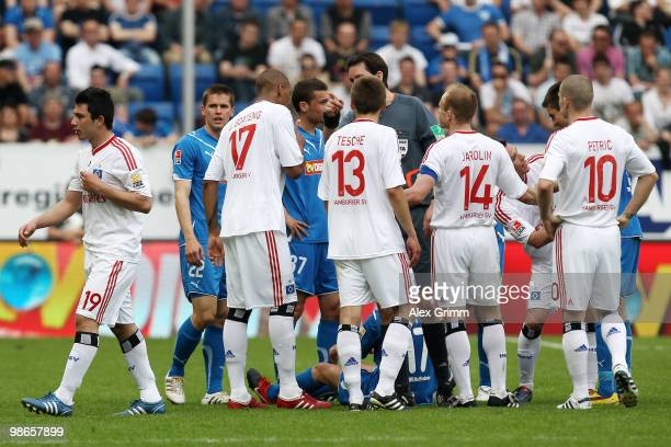 Tolgay Arslan of Hamburg is sent off by referee Manuel Graefe during the Bundesliga match between 1899 Hoffenheim and Hamburger SV at the RheinNeckar...