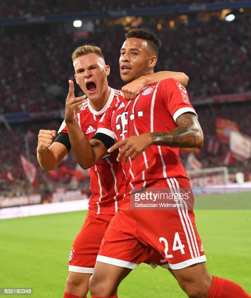 Tolisso of Bayern Muenchen celebrates his goal with Joshua Kimmich of Bayern Munich during the Bundesliga match between FC Bayern Muenchen and Bayer...