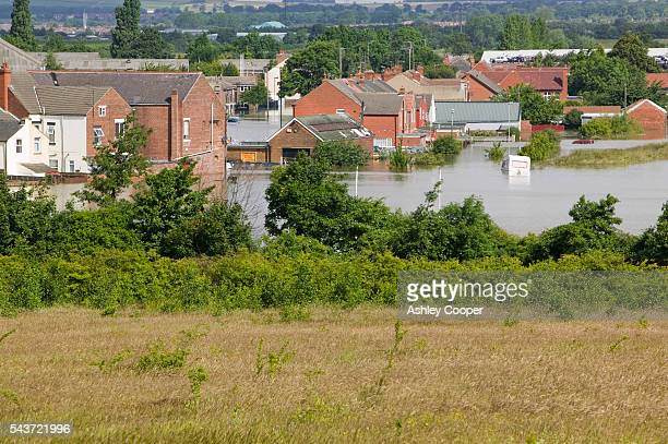 Toll Bar near Doncaster UK flooded in the June 2007 unprecedented summer floods | Location Toll Bar near Doncaster England UK