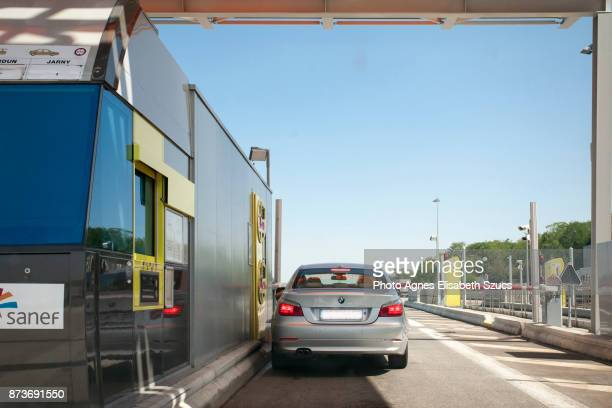 Toll booth Péage in France with a car