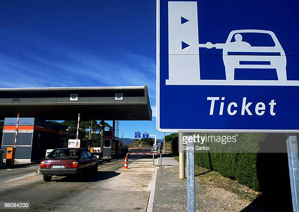 Toll booths for cars.