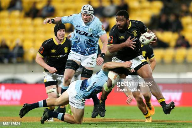 Tolu Fahamokioa of Wellington is tackled during the Mitre 10 Cup Semi Final match between Wellington and Northland at Westpac Stadium on October 20...