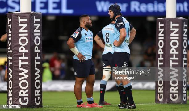 Tolu Latu with Dean Mumm of the NSW Waratahs during the Super Rugby match between the Cell C Sharks and Waratahs at Growthpoint Kings Park on March...