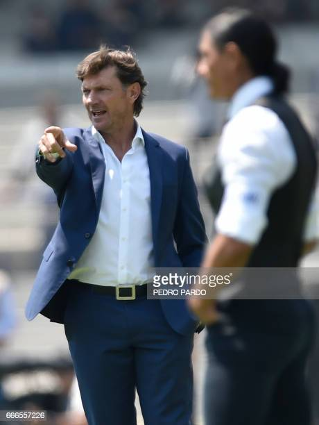Toluca´s coach Hernan Cristante gestures during the Mexican Clausura 2017 Tournament match agaist Pumas at Azul Stadium in Mexico City on April 9...