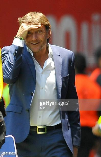 Toluca's coach Hernan Cristante reacts during the Mexican Clausura football tournament match against Queretaro at the Nemesio Diez stadium in Toluca...