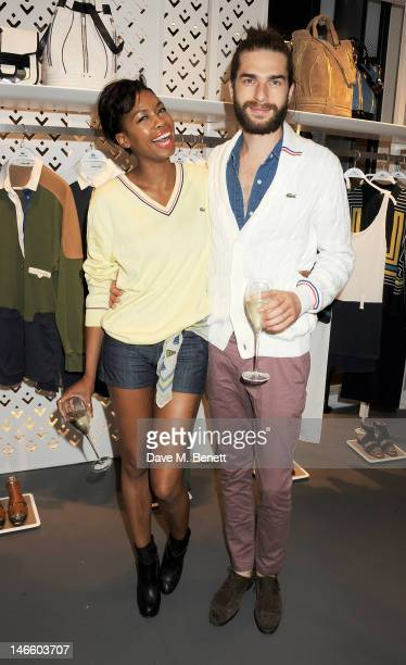 Tolula Adeyemi and Anthony Adams attend the launch of Lacoste's new London Flagship store in Knightsbridge on June 20 2012 in London England