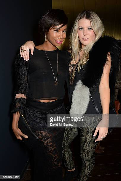 Tolula Adeyemi and guest attend the launch party as Mondrian London opens its doors on London's South Bank at Mondrian Hotel on October 9 2014 in...