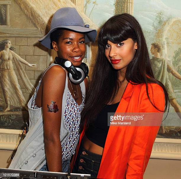 Tolula Adeyemi and Jameela Jamil attend the launch of Kirsty Robinson's debut novel 'Grass Stains' supported by St Tropez at Home House on June 2...