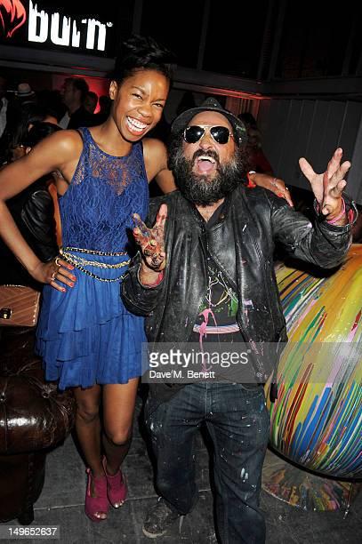 Tolula Adeyemi and Mr Brainwash attend as Burn Energy Drink presents DJ/Producer David Guetta and pop artist Mr Brainwash at The Old Sorting Office...
