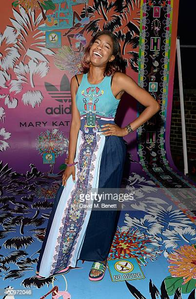 Tolula Adeyemi attends a rooftop party in Shoreditch London to celebrate the launch of Mary Katrantzou for adidas Originals Season 2 at Snap Studios...