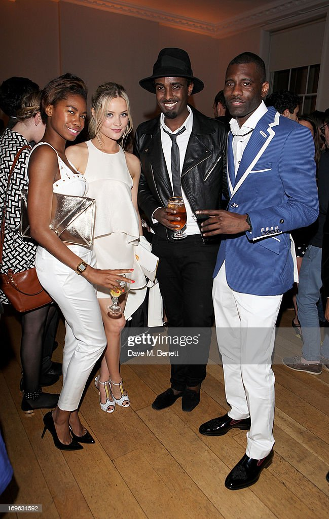 Tolula Adeyemi, Laura Whitmore, Mason Smillie and Wretch 32 attend the Esquire Summer Party in association with Stella Artois at Somerset House on May 29, 2013 in London, England.