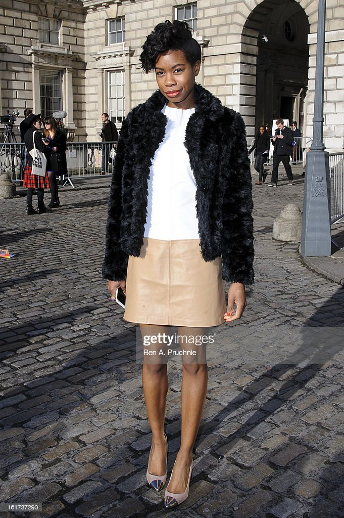 Tolula Adeyemi sighted arriving at Somerset House during London Fashion Week F/W 2013 on February 15, 2013 in London, England.