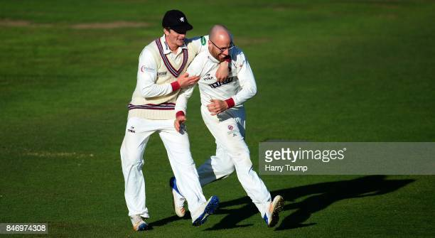 Tom Abell and Jack Leach of Somerset celebrate the wicket of Ryan McLaren of Lancashire during Day Three of the Specsavers County Championship...
