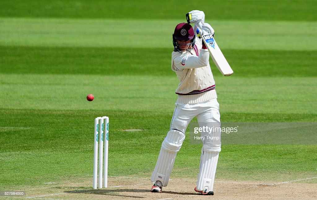 Tom Abell of Somerset cuts during Day Three of the Specsavers County Championship Division One match between Someret and Lancashire at the County Ground on May 03, 2016 in Somerset, United Kingdom.
