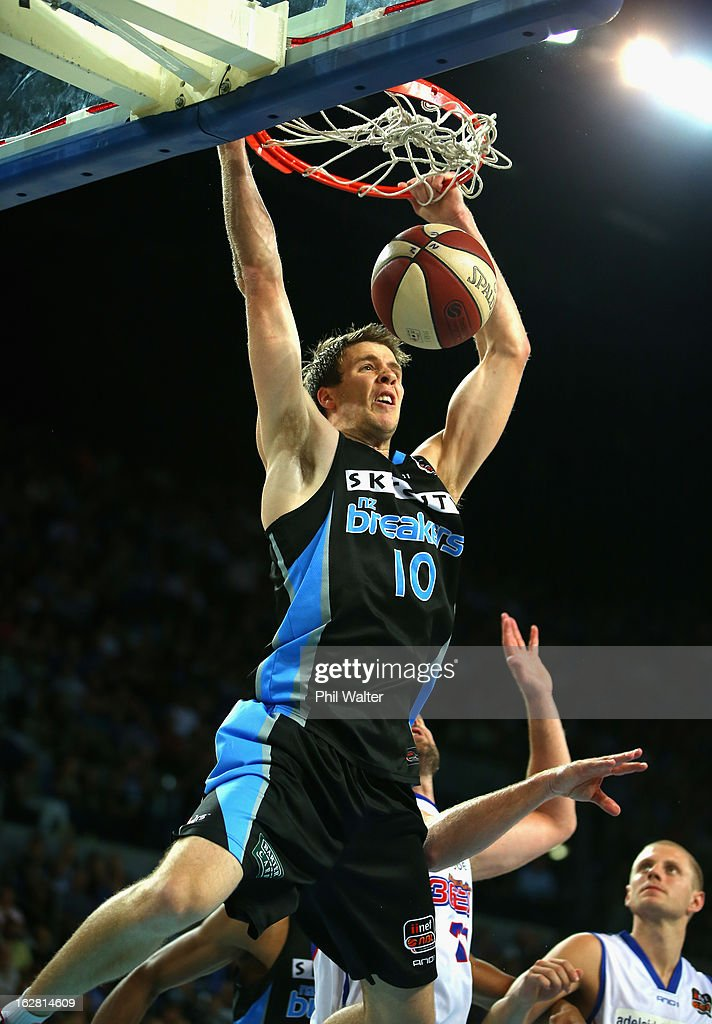 Tom Abercrombie of the Breakers dunks the ball during the round 21 NBL match between the New Zealand Breakers and the Adelaide 36ers at Vector Arena on February 28, 2013 in Auckland, New Zealand.