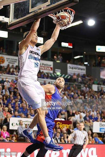 Tom Abercrombie of the Breakers dunks the ball during the round four NBL match between the Adelaide 36ers and the New Zealand Breakers at Adelaide...