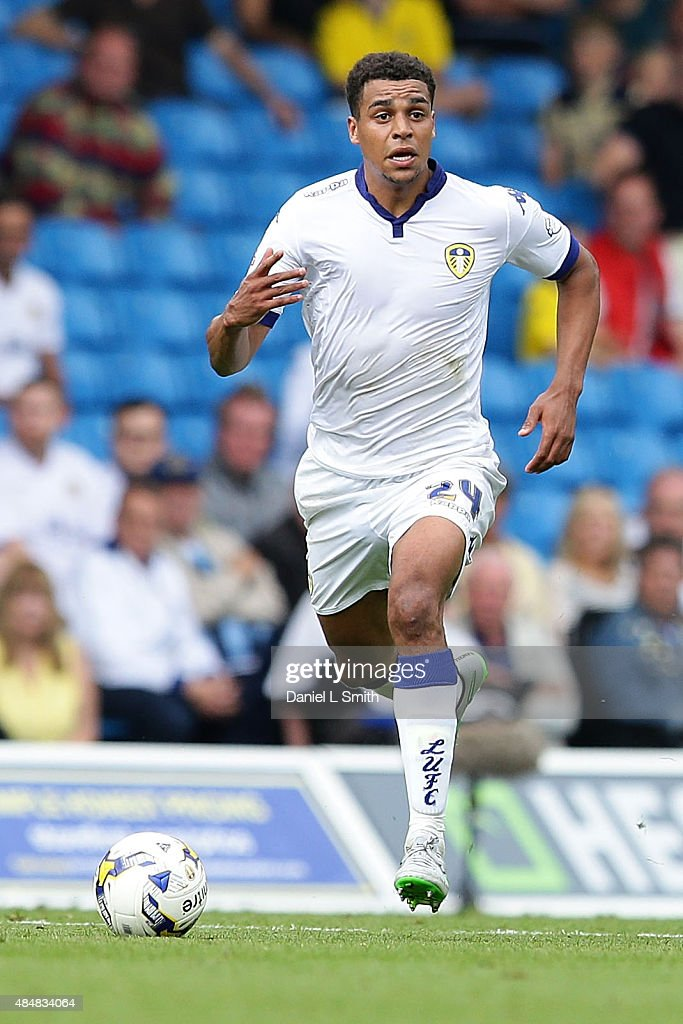 Tom Adeyemi of Leeds United FC controls the ball during the Sky Bet Championship match between Leeds United and Sheffield Wednesday at Elland Road on August 22, 2015 in Leeds, England.