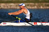 Tom Aggar of Great Britain completes on his way to winning the gold medal in the Rowing Men's Single Sculls Final at Shunyi Olympic RowingCanoeing...