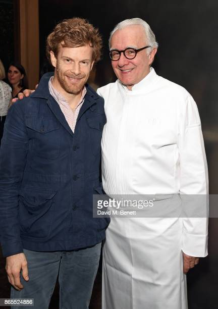 Tom Aikens and Alain Ducasse attend 10th anniversary of Alain Ducasse at The Dorchester on October 23 2017 in London England