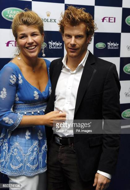 Tom Aikens with Amber Nuttall at the Land Rover Party to mark the Burghley Horse Trials at Stamford Lincolnshire