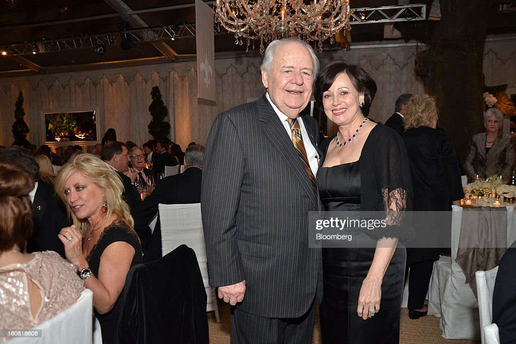 Tom and Gayle Benson, owners of NFL team the New Orleans Saints, pose for a portrait during a party they hosted for NFL team owners in New Orleans, Louisiana, U.S., on Thursday, Jan. 31. 2013. The party in City Park kicked off a weekend of festivities before Super Bowl XLVII. Photographer: Amanda Gordon/Bloomberg via Getty Images