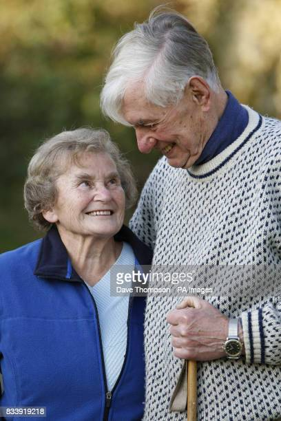 Tom and Joyce Robinson pose for photographs outside their home in Carperby North Yorkshire The couple celebrate their Diamond Wedding Anniversary on...