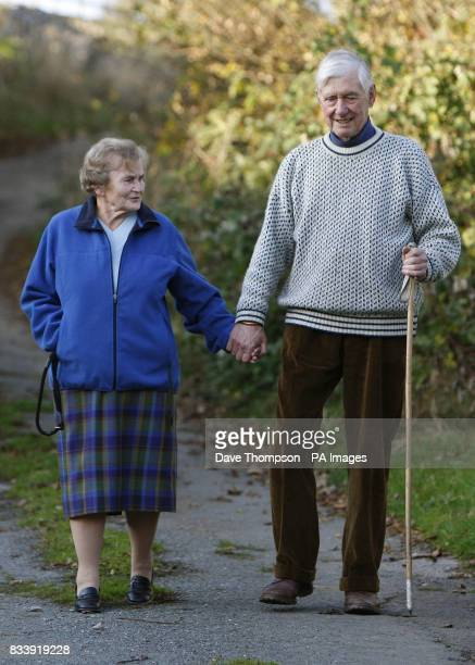 Tom and Joyce Robinson walking near their home in Carperby North Yorkshire The couple celebrate their Diamond Wedding Anniversary on November 20th...